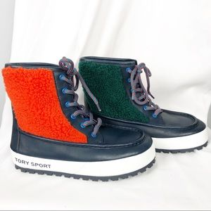 Tory Burch Sport Color Block Lace Up Boots 6.5